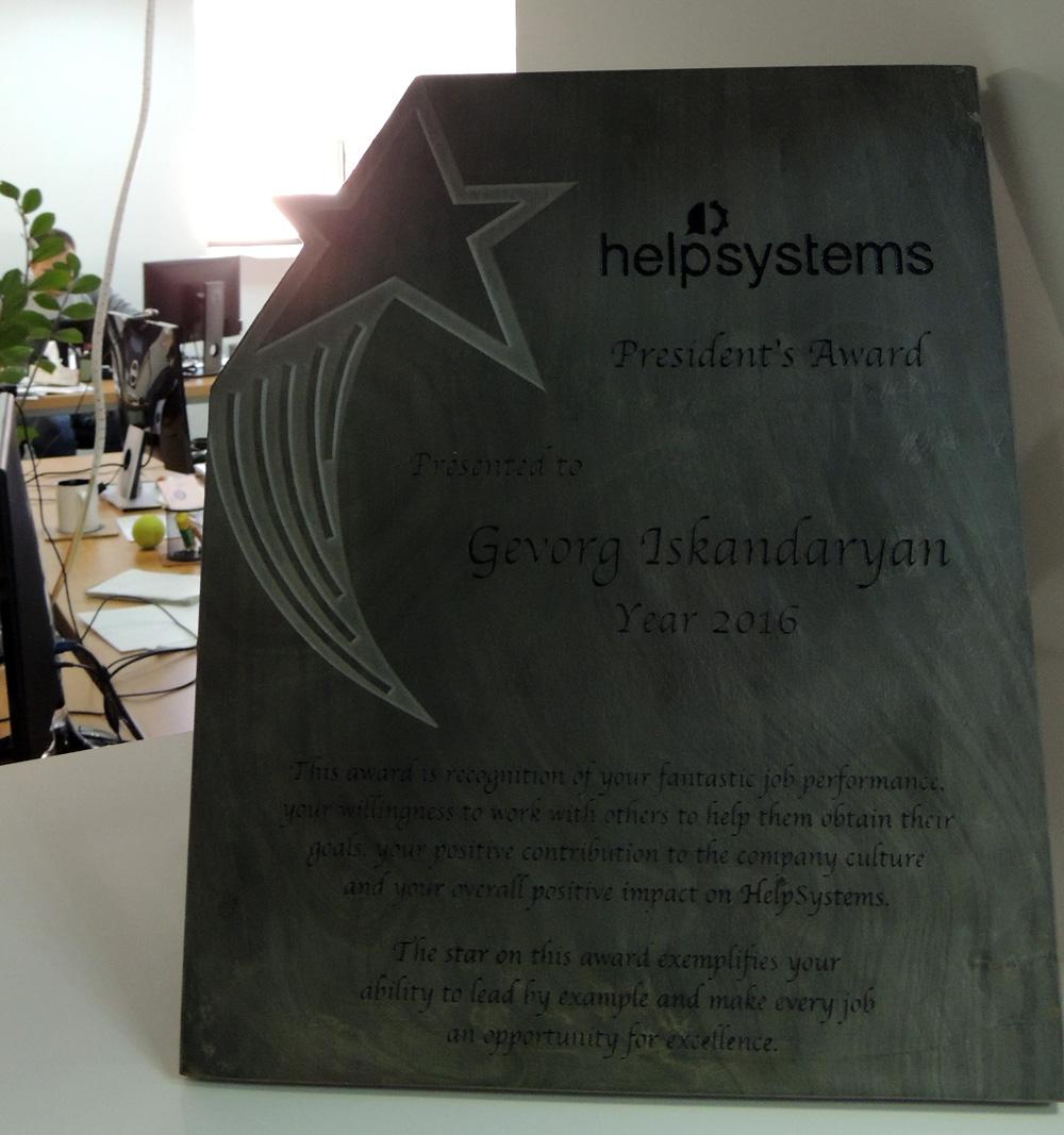 HelpSystems խմբի կողմից տրամադրված հեղինակավոր մրցանակ